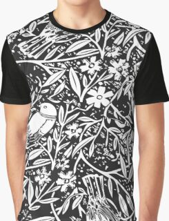 Black and White Sketch Bird Background Graphic T-Shirt