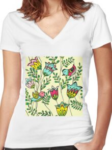 Cute Colorful Birds Women's Fitted V-Neck T-Shirt