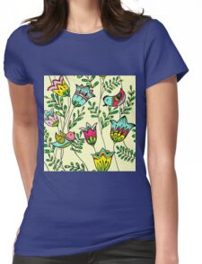 Cute Colorful Birds Womens Fitted T-Shirt