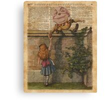 Humpty Dumpty and Alice,Alice In Wonderland,Vintage Dictionary Art Canvas Print