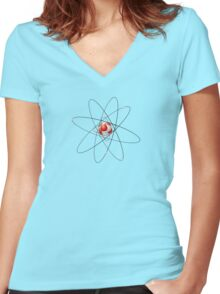 carbon atom Women's Fitted V-Neck T-Shirt