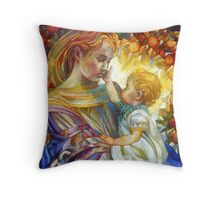 the madam of oriental persimmon with cherub Throw Pillow