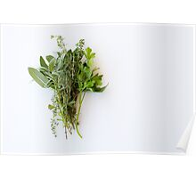 Fresh herbs on white table Poster