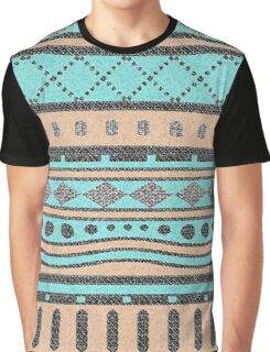 Turquoise And Peach Tribal Pattern Graphic T-Shirt