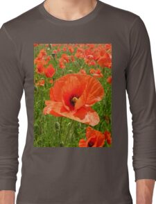 poppy close-up Long Sleeve T-Shirt