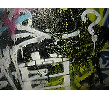 graffiti yellow white lines Photographic Print