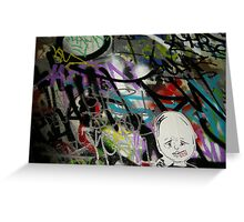 colourful graffiti with a face Greeting Card