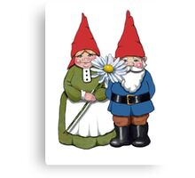 Gnome Couple with Daisy, Whimsical Fantasy Art Canvas Print
