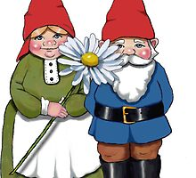 Gnome Couple with Daisy, Whimsical Fantasy Art by Joyce Geleynse