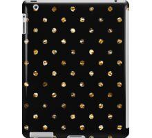 Gold polka dot on black - pattern iPad Case/Skin