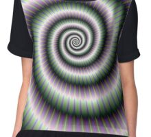 Coiled Spiral in Green and Violet Chiffon Top