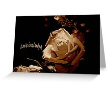 Love Included, romantic text card with vintage Rose Greeting Card