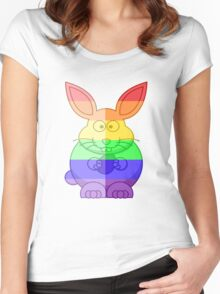 Love U Tees Funny Rainbow Animals Bunny Rabbit LGBT Pride Week Swag, Unique Rainbow Gifts Women's Fitted Scoop T-Shirt