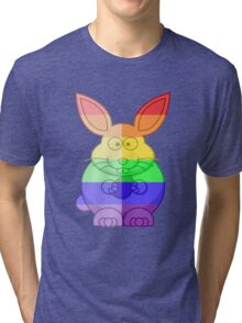 Love U Tees Funny Rainbow Animals Bunny Rabbit LGBT Pride Week Swag, Unique Rainbow Gifts Tri-blend T-Shirt
