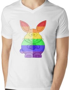 Love U Tees Funny Rainbow Animals Bunny Rabbit LGBT Pride Week Swag, Unique Rainbow Gifts Mens V-Neck T-Shirt