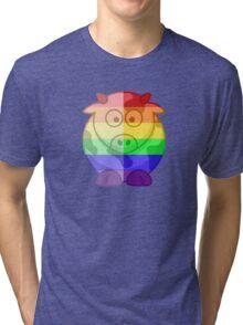 Love U Tees Funny Rainbow Animals Moo Cow LGBT Pride Week Swag, Unique Rainbow Gifts Tri-blend T-Shirt