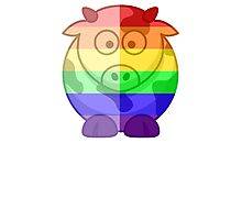 Love U Tees Funny Rainbow Animals Moo Cow LGBT Pride Week Swag, Unique Rainbow Gifts Photographic Print