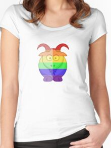 Love U Tees Funny Rainbow Animals Goat LGBT Pride Week Swag, Unique Rainbow Gifts Women's Fitted Scoop T-Shirt
