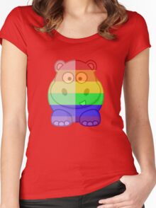 Love U Tees Funny Rainbow Animals Hippo LGBT Pride Week Swag, Unique Rainbow Gifts Women's Fitted Scoop T-Shirt