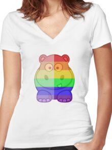 Love U Tees Funny Rainbow Animals Hippo LGBT Pride Week Swag, Unique Rainbow Gifts Women's Fitted V-Neck T-Shirt