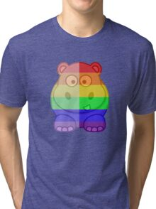 Love U Tees Funny Rainbow Animals Hippo LGBT Pride Week Swag, Unique Rainbow Gifts Tri-blend T-Shirt