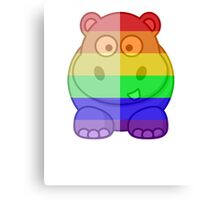 Love U Tees Funny Rainbow Animals Hippo LGBT Pride Week Swag, Unique Rainbow Gifts Canvas Print