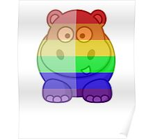 Love U Tees Funny Rainbow Animals Hippo LGBT Pride Week Swag, Unique Rainbow Gifts Poster