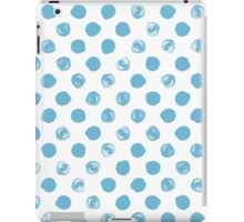 Blue messy polka dot on white - pattern iPad Case/Skin