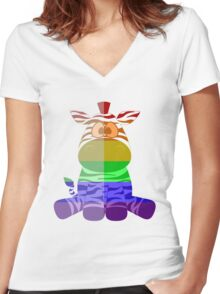 Love U Tees Funny Rainbow Animals zebra LGBT Pride Week Swag, Unique Rainbow Gifts Women's Fitted V-Neck T-Shirt