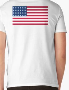 WAR FLAG, AMERICAN, Stars & Stripes, US Flag, 48 stars. Used 47 years, July 4, 1912, to July 3, 1959. Mens V-Neck T-Shirt
