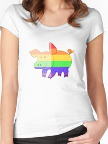 Love U Tees Funny Rainbow Animals Pig LGBT Pride Week Swag, Unique Rainbow Gifts Women's Fitted Scoop T-Shirt