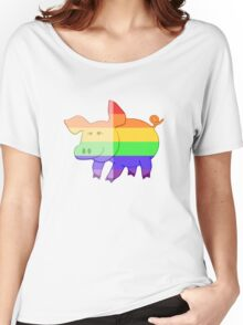Love U Tees Funny Rainbow Animals Pig LGBT Pride Week Swag, Unique Rainbow Gifts Women's Relaxed Fit T-Shirt