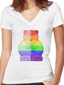 Love U Tees Funny Rainbow Animals Polar Bear LGBT Pride Week Swag, Unique Rainbow Gifts Women's Fitted V-Neck T-Shirt