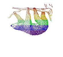 Love U Tees Funny Rainbow Animals Sloth LGBT Pride Week Swag, Unique Rainbow Gifts Photographic Print
