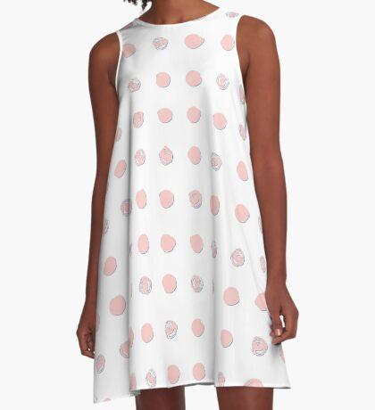 Pink messy polka dot on white - pattern A-Line Dress