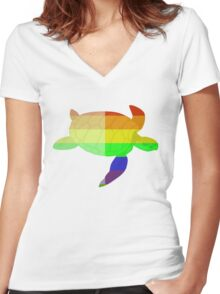 Love U Tees Funny Rainbow Animals Turtle LGBT Pride Week Swag, Unique Rainbow Gifts Women's Fitted V-Neck T-Shirt