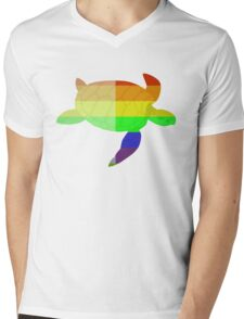 Love U Tees Funny Rainbow Animals Turtle LGBT Pride Week Swag, Unique Rainbow Gifts Mens V-Neck T-Shirt