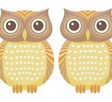 Twin Owls by Jean Gregory  Evans