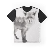 Fox Black and White Double Exposure Graphic T-Shirt
