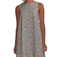 Dog Pattern 3 in Grey Gray A-Line Dress