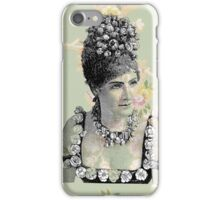 Victorian Steampunk Lady Peach Green Flowers iPhone Case/Skin