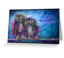 Colourful painted owls Greeting Card