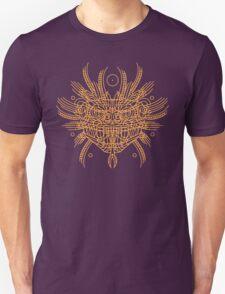 Facing Quetzalcoatl, the feathered snake on orange Unisex T-Shirt