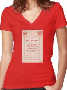 SHELBOURNE VS BARCELONA - PROGRAMME COVER  Women's Fitted V-Neck T-Shirt
