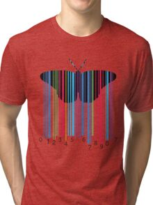 Butterfly with codebars and numbers Tri-blend T-Shirt