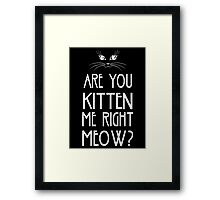 Are You Kitten Me Right Meow? Framed Print