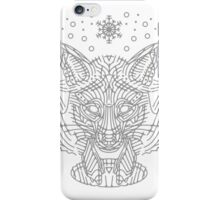 Fox hunting in the snow on black, white and gray iPhone Case/Skin