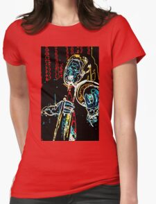 Neon Waves of Jazz Trombone Womens Fitted T-Shirt