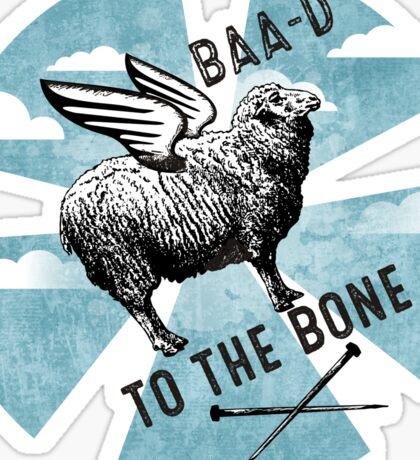 Flying sheep knitting needles bad to the bone Sticker