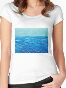Japanese Waves original painting Women's Fitted Scoop T-Shirt